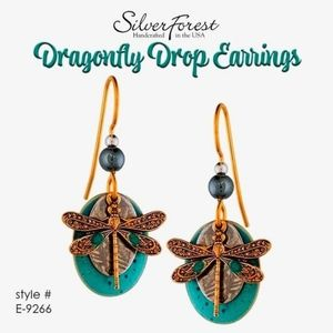 Silver Forest Dragonfly Teal Drop Earrings